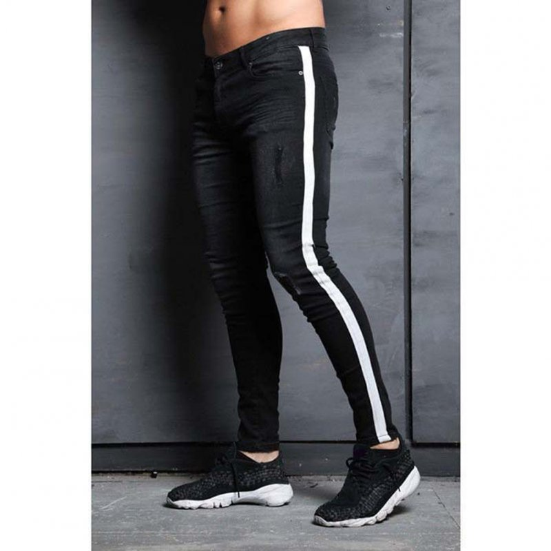 Male Jeans with Knee Holes Slim Trousers Small Feet and Middle Waist Pants black_L
