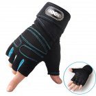 Man Anti-Skid Half Finger Gloves Comfortable Breathable Sports Gloves for Outdoor Sports Cycling Weightlifting black with light blue_L