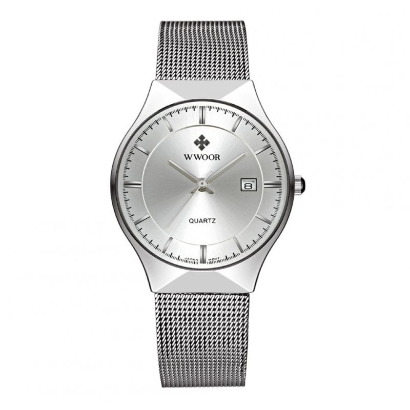 Man Fashionable Stainless Steel Band Calendar Waterproof Quartz Watch White shell white dial