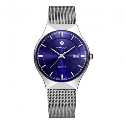 Man Fashionable Stainless Steel Band Calendar Waterproof Quartz Watch White shell blue dial