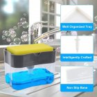 Manual Press Soap Pump Portable Foam Soap Dispenser with Sponge Bracket for Bathroom Kitchen gray