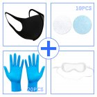 Mask + Filter + Goggles + Disposable Gloves Set Anti acteria Dustproof Protective Cover M_Mask + gasket * 10 + goggles * 1 + gloves * 20