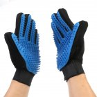 Massage Glove Hair Remove Tool for Pet Dogs Cats (Color Box Packing+Manual) Left hand_blue
