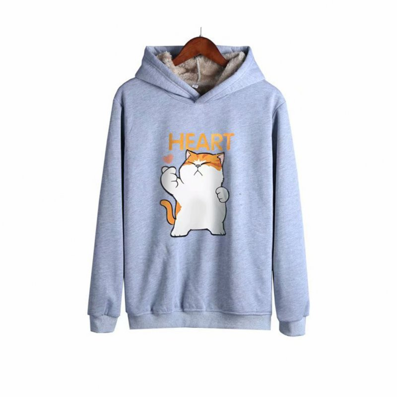Men Autumn Winter Pullover Hooded Sweater Loose Long Sleeve Fleece Line Tops Hoodie cat-gray_XL