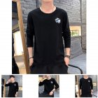 Men Autumn and Winter Long Sleeve Round Neckline Print Solid Color Cotton T-Shirt Tops black_L