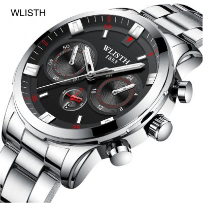 Men Casual Quartz Watch Stainless Steel Wrist Waterproof Luminous Dial Sports WristWatch silver shell black surface steel belt 2#