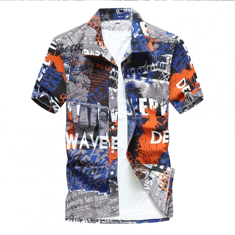 Men Colorful Printing Quick-drying Fashion Short Sleeve Casual Shirt blue_M