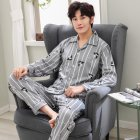 Men Comfortable Spring and Autumn Cotton Long Sleeve Casual Breathable Home Wear Set Pajamas 5634 XL