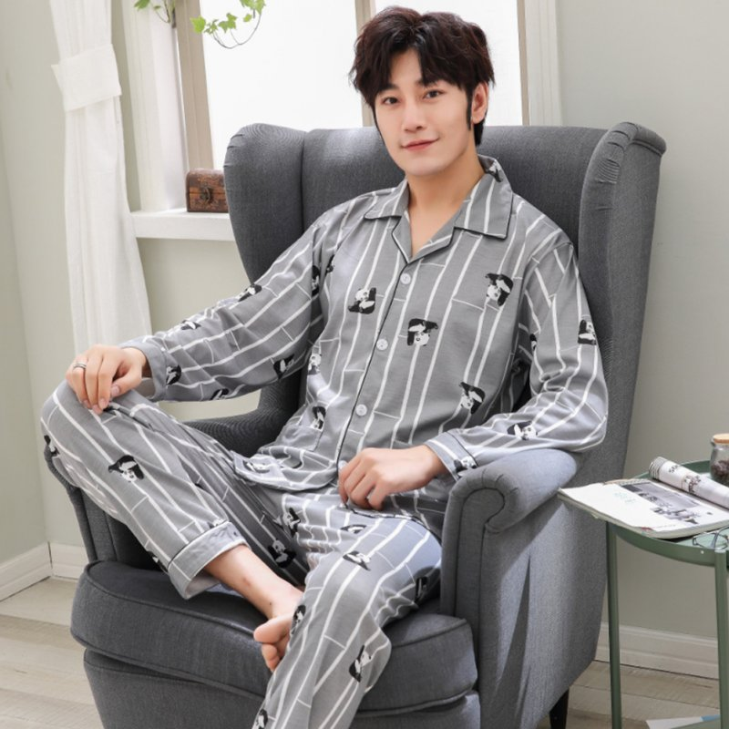 Men Comfortable Spring and Autumn Cotton Long Sleeve Casual Breathable Home Wear Set Pajamas 5634_XL