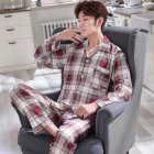 Men Comfortable Spring and Autumn Cotton Long Sleeve Casual Breathable Home Wear Set Pajamas 5635_L