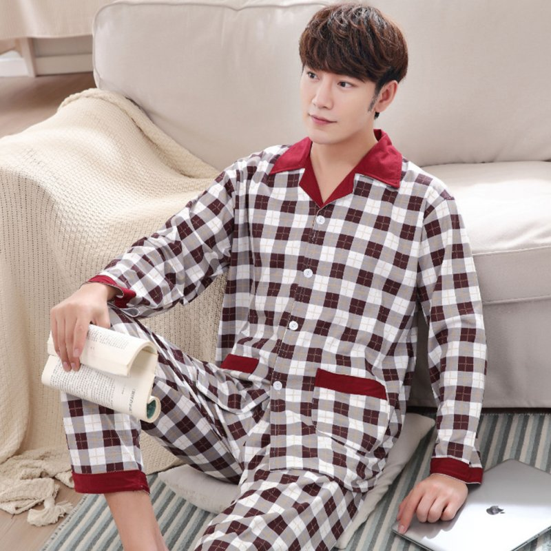 Men Comfortable Spring and Autumn Cotton Long Sleeve Casual Breathable Home Wear Set Pajamas 5631_XL