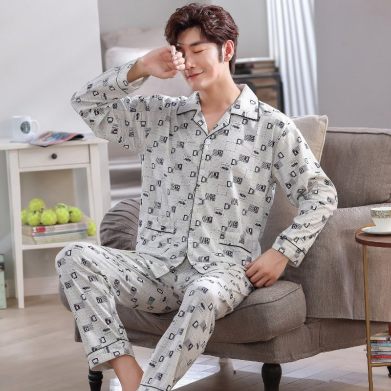 Men Comfortable Spring and Autumn Cotton Long Sleeve Casual Breathable Home Wear Set Pajamas 5639_L