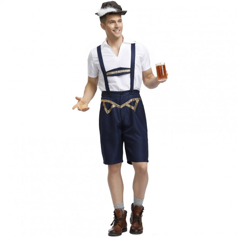 Men Cosplay Bavarian Traditional Suits Plaid Shirts + Suspender Pants+ Cap  Navy_XL