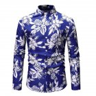 Men Fashion Casual Printing Stand Collar Long Sleeve T-shirt blue_3XL