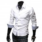 Men Fashion Casual Solid Color Long Sleeve Slim Shirts  white_L