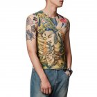 Men Fashion Creative Tattoo Pattern Slim Tops Leisure Breathable Vest one size