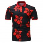 Men Fashion Printing Large Size Casual Lapel Short Sleeves Shirt Black red_2XL