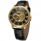 Men Fashion Watch - Gold Shell Black Surface