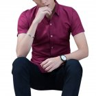 Men Fashion Short-sleeved Shirts -Wine red S