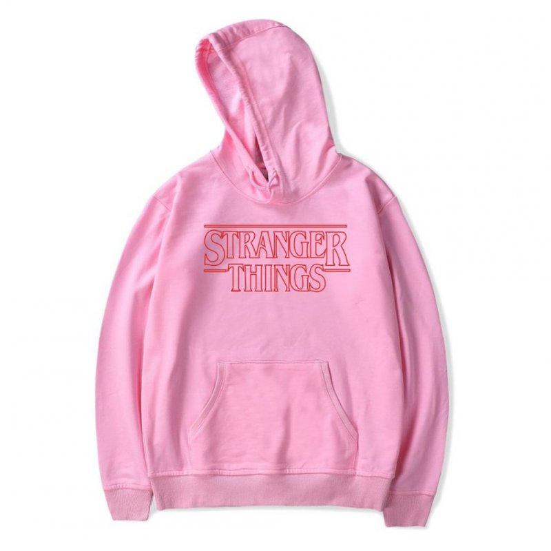 Men Fashion Stranger Things Printing Thickening Casual Pullover Hoodie Tops Pink-_L