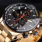 Men Fashion Waterproof Multi-Function Automatic Mechanical Watch Gold belt black dial