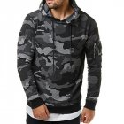 Men Fashionable Hoodie Cool Camouflage Sweater Casual Camo Pullover gray 2XL