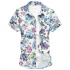 Men Hawaii Shirt Floral Print Short Sleeve Lapel Slim Beach Casual Summer Tops Plus Size As shown_3XL