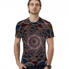 Men Loose 3D Colorful Digital Printing Round Collar Short Sleeve T Shirt for Couples XK 10142T L