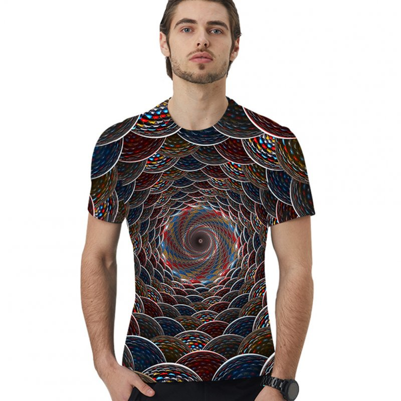 Men Loose 3D Colorful Digital Printing Round Collar Short Sleeve T Shirt for Couples XK-10142T_L