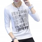 Men Round Collar Long Sleeves Casual Dating Bottom Shirt for Autumn Spring Square letter white_L