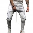 Men Side Pockets Soft Casual Pants with Magic Sticker Outdoor Trousers Gift Fitness Pants white_M
