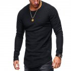 Men Slim Fit O Neck Long Sleeve Muscle Shirt Casual Solid Color Tops Blouse black_L