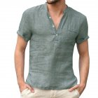Men Solid Color Linen Cotton Shirt Short Sleeve Breathable Fashion T-shirt Dark green_XXL