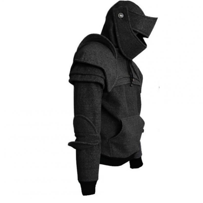 Men Solid Color Retro Elbow Drawstring Mask Knight Sweater  black_XXL