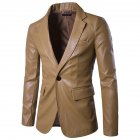 Men Spring Solid Color Slim PU Leather Fashion Single Row One Button Suit Coat Tops Khaki_2XL
