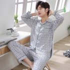 Men Spring and Autumn Cotton Long Sleeve Casual Breathable Home Wear Set Pajamas 8844 blue_XXL