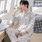Men Spring and Autumn Cotton Long Sleeve Casual Breathable Home Wear Set Pajamas 8844 red_XXXL