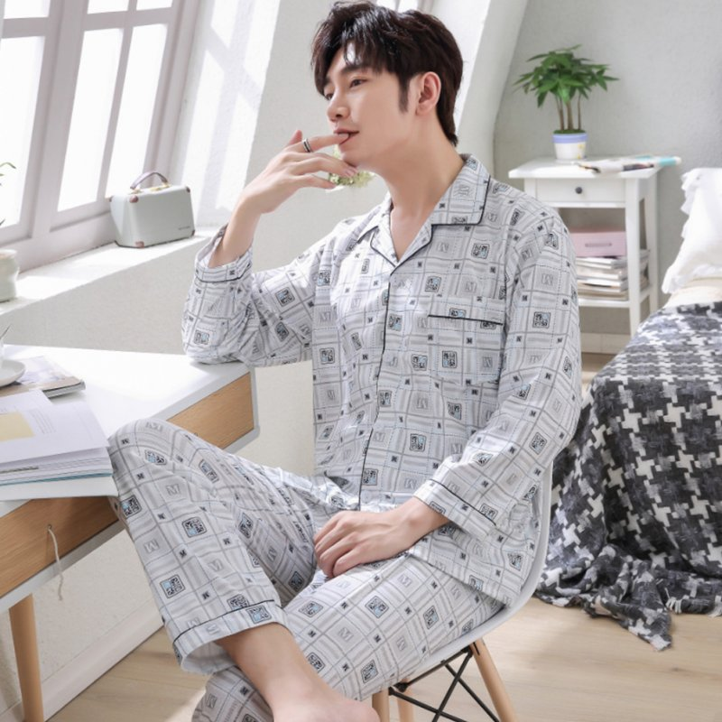 Men Spring and Autumn Cotton Long Sleeve Casual Breathable Home Wear Set Pajamas 8852 blue_XXL