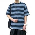 Men Stripe Pattern Half Sleeve Casual Loose T-shirt F17 striped blue T-shirt_XL