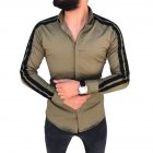 Men Stylish Casual Matching Dress Shirt Slim Fit T-Shirt Long Sleeve Formal Tops ArmyGreen_L