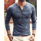 Men Stylish Long-Sleeve Slim T-Shirt Simple Solid Color Button Tops Base Shirt blue_XL