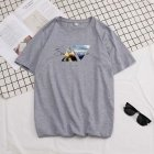 Men Summer Fashion Short sleeved T shirt Round Neckline Loose Printed Cotton Bottoming Top 3XL 614 gray