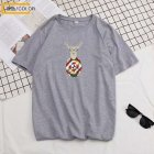 Men Summer Fashion Short-sleeved T-shirt Round Neckline Loose Printed Cotton Bottoming Top 632 gray_2XL