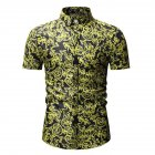 Men Summer Hawaii Digital Printing Short Sleeve T-shirt black_M