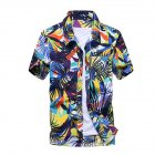 Men Summer Hawaii Quick Dry Printing Short Sleeve Loose Beach Shirt Light green_L