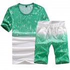 Men Summer Loose Round Neck Casual Short-sleeved T-shirt Sports Suit Outfit green_5XL