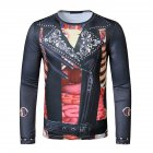 Men T Shirt 3D Digital Printing Halloween Series Print Long Sleeve Round  Neck Tops Black_M