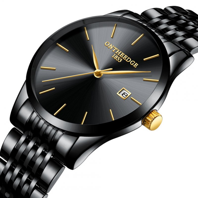 Men Thin Fine Steel Band Quartz Movement Calendar Watch black
