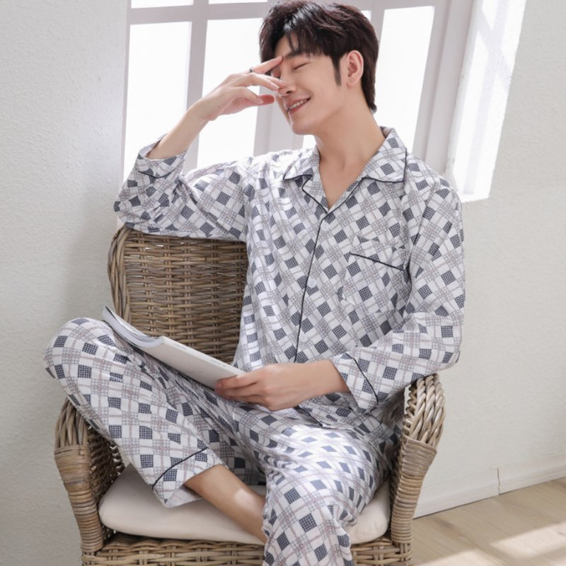 Men Winter Spring and Autumn Cotton Long Sleeve Casual Home Wear Pajamas Homewear 8819 blue_XXL
