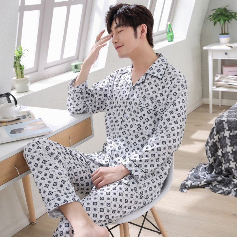 Men Winter Spring and Autumn Cotton Long Sleeve Casual Home Wear Pajamas Homewear 8824 blue_XXXL